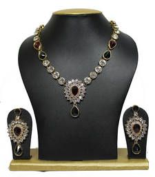 Buy Marron & Green Single line stone necklace set with Earrings necklace-set online