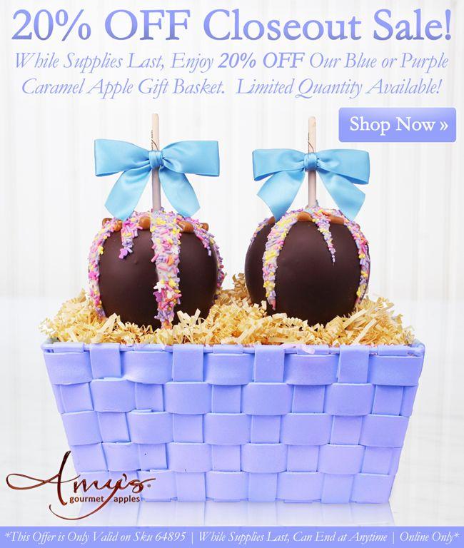 8 best summer gifts promotions images on pinterest bridal blue or purple caramel apple gift basket negle Images
