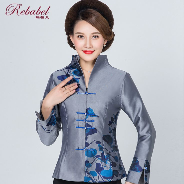 Attractive Print Open Neck Chinese Jacket - Gray - Chinese Jackets & Coats - Women