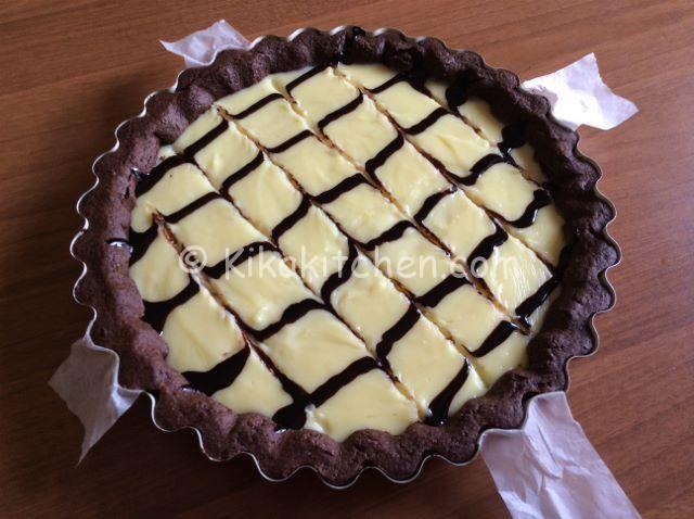 ricetta crostata al cacao con crema al cioccolato bianco
