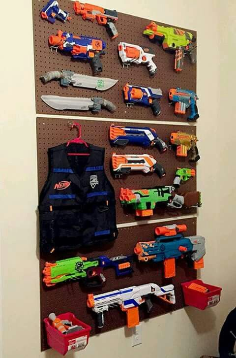 """Peg board display for """"nerf/airgun collection"""