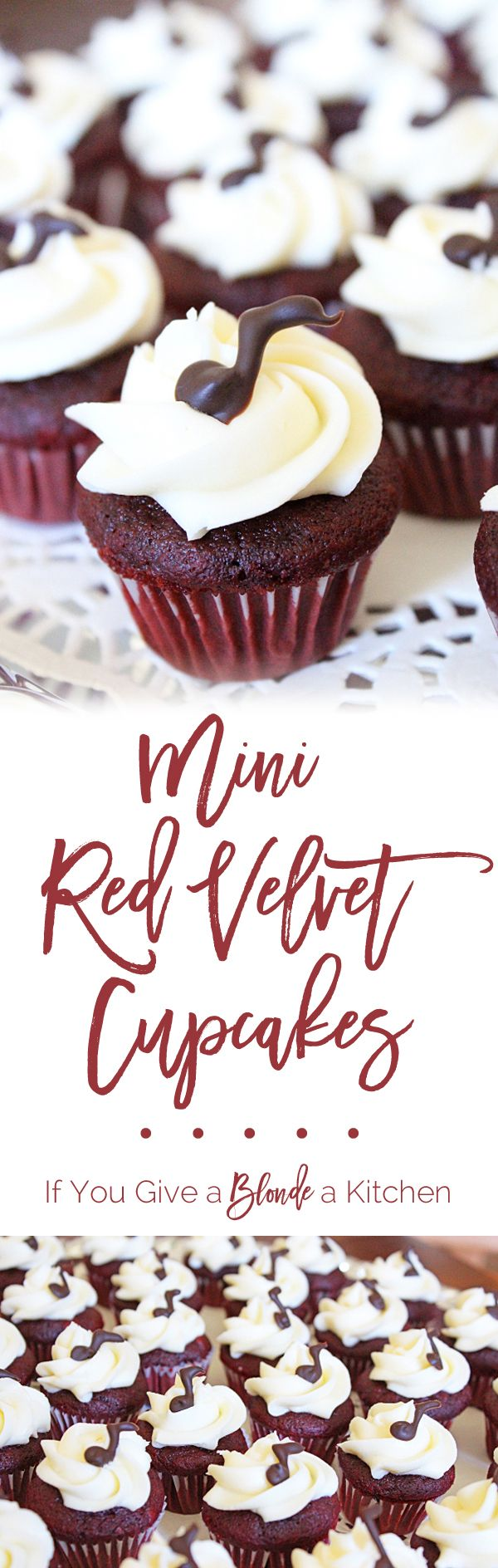 This red velvet cupcakes recipe makes 36 mini cupcakes (or 12 regular-sized cupcakes). They are soft and rich treats with decadent cream cheese frosting. | @If You Give a Blonde a Kitchen