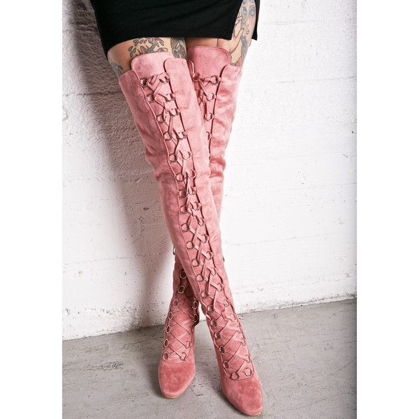Love Story Thigh-High Boots ($65) ❤ liked on Polyvore featuring shoes, boots, slim boots, lacing boots, laced thigh boots, thigh high lace up boots and over-the-knee lace-up boots