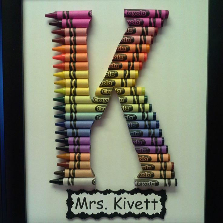 teacher gift personalized rainbow crayon letter art letter k