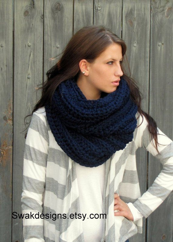 Unisex Chunky Knitted Snood Scarf Ribbed Knit Soft Feel Head Warmer
