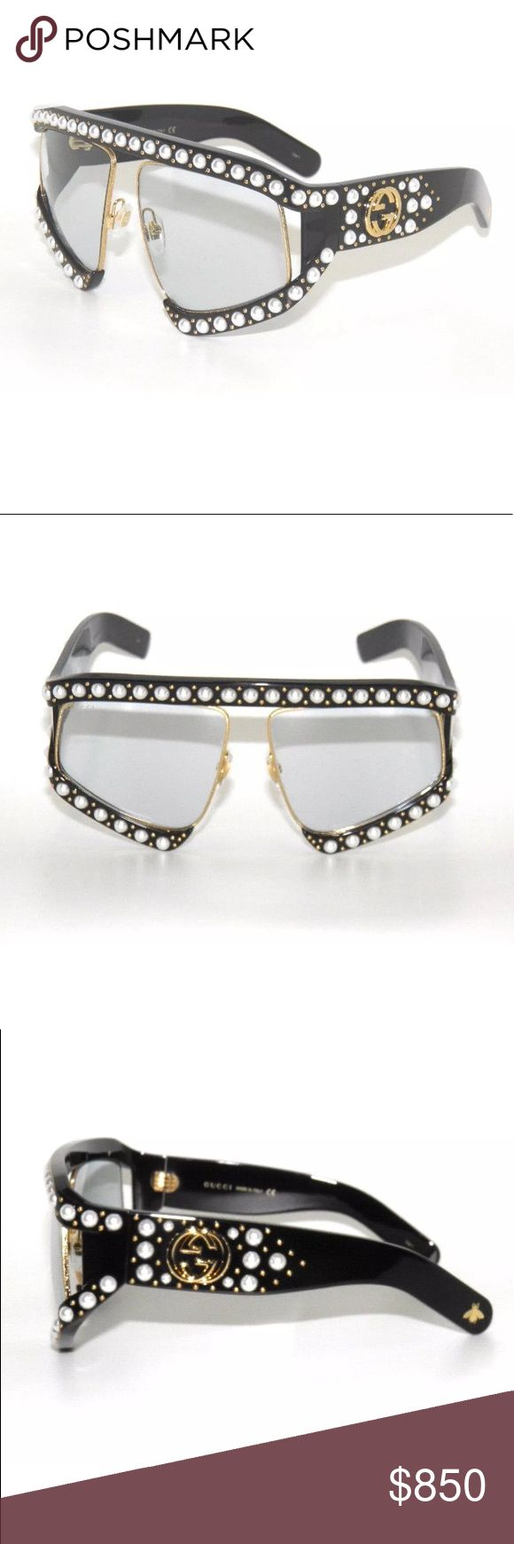 Gucci Pearl Studded Butterfly Sunglasses 0234S Gucci Brand new, black frame with pearls and light blue lenses. Comes with original Gucci Case,Cloth,Papers. SIZE: 63/14/130 NEW MODEL!!!! Gucci Accessories Sunglasses