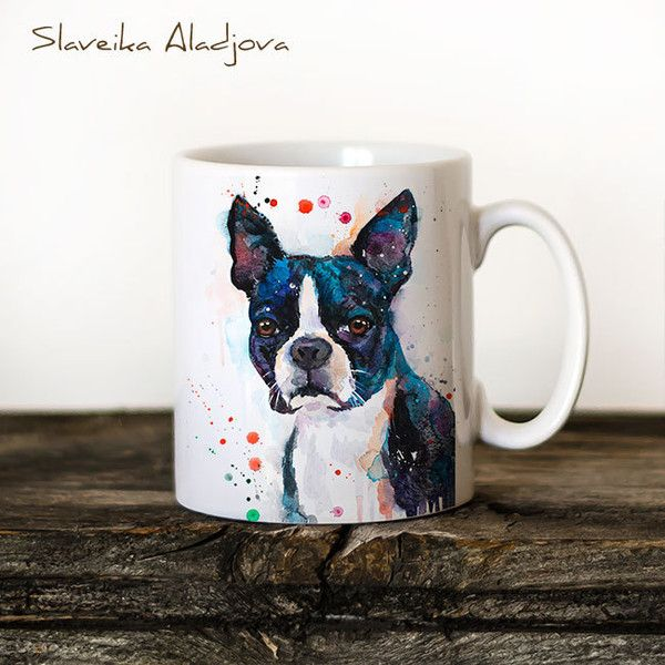 Boston Terrier Mug Watercolor Ceramic Mug Unique Gift Coffee Mug... ($16) ❤ liked on Polyvore featuring home, kitchen & dining, drinkware, drink & barware, grey, home & living, ceramic tea cups, watercolor mugs, animal coffee mugs and ceramic mugs