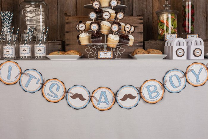 Mustache It's A Boy Banner Baby Shower