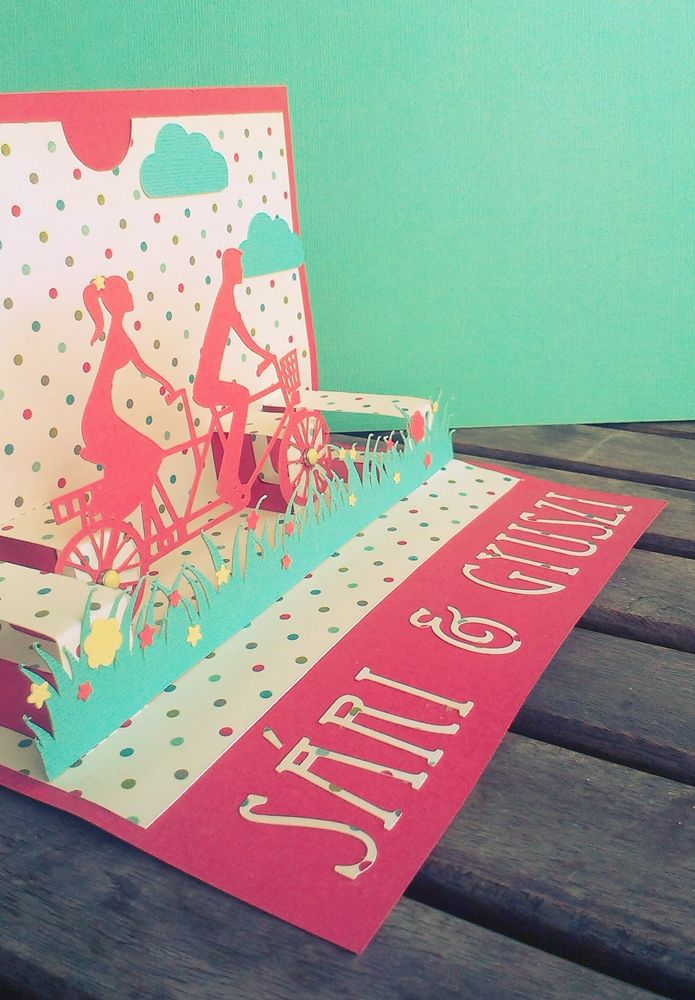 pop up wedding card with bicycle