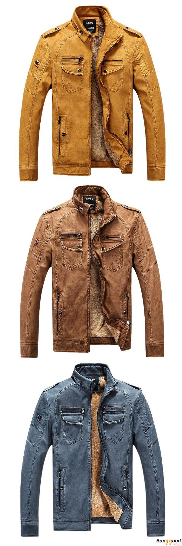US$59.99 + Free Shipping. Mens Winter Velvet Plus Thick Warm Stylish Motor Washed Leather Jackets. Color: Brown, Yellow, Black, Cowboy Blue. US Size: XS - XL. >>> To View Further, Visit Now.