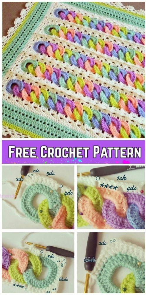 Crochet Interlocking Rainbow Ring Baby Blanket Free