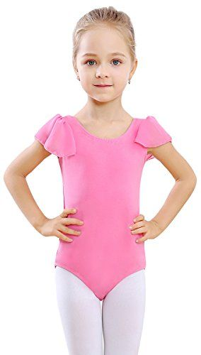 bdcb5838a STELLE Girl s Cotton Ruffle Short Sleeve Leotard for Dance ...