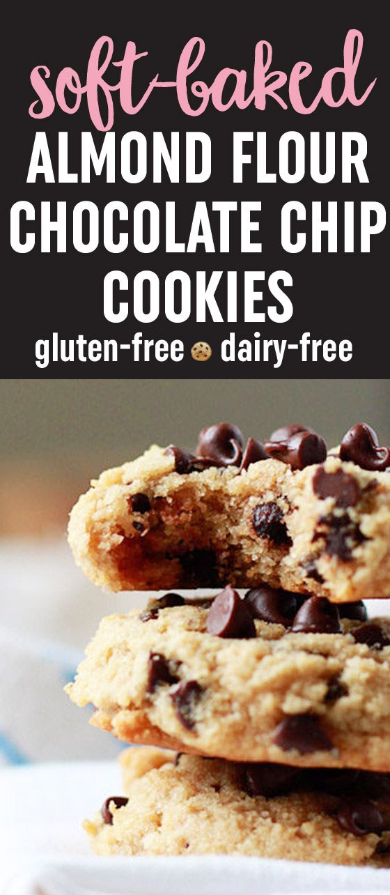 Soft-Baked Almond Flour Chocolate Chip Cookies recipe - These bendy melt-in-your-mouth gems are an incredible gluten-free, dairy-free, low-carb alternative to traditional chocolate chip cookies. (Low Carb Snacks Dairy Free)