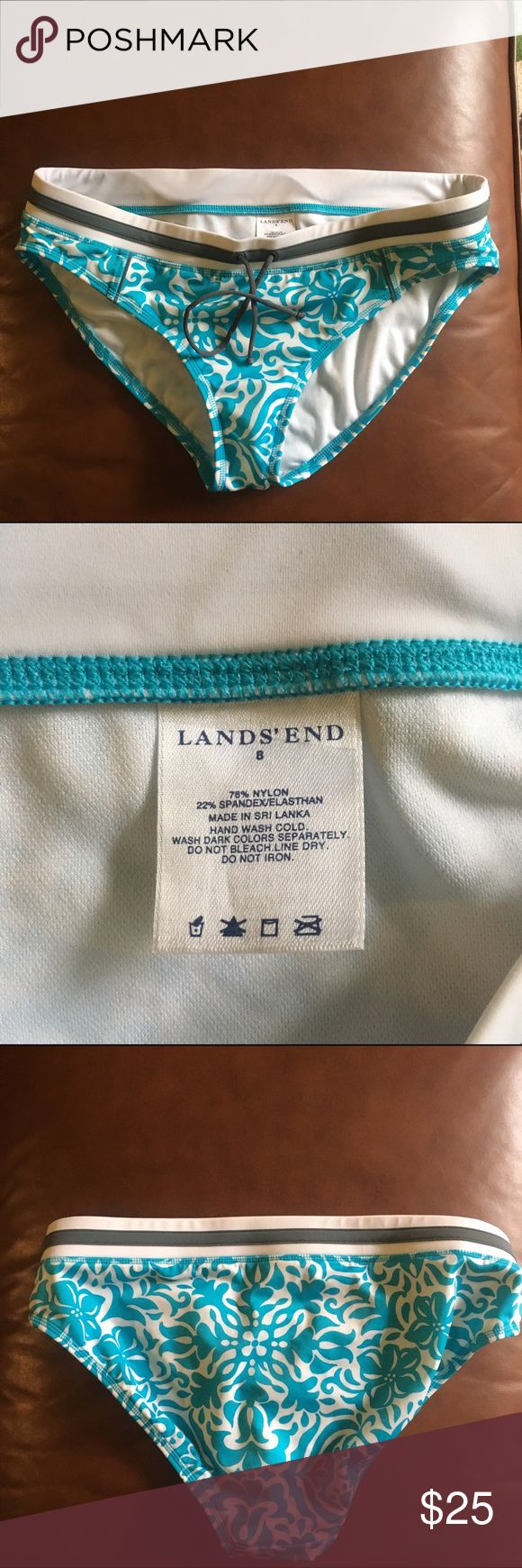 Lands End Bikini Bottom Cute aqua blue and white bikini bottom. Look brand new. Only worn once. Tie in the front Lands' End Swim Bikinis