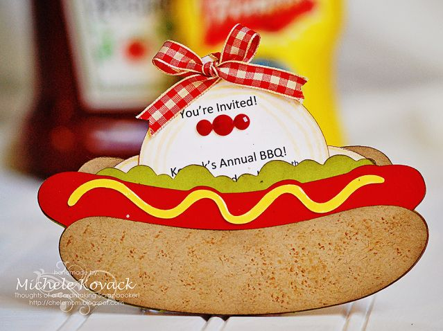 Summer hot dog BBQ invite! Super cute! Made with the Cricut and the Fast Food cartridge!