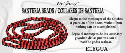 SANTERIA BEAD NECKLACE ELEGUA RED & BLACK Wicca Witch Pagan Goth ORISHAS
