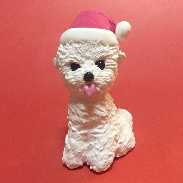 #犬 #ペット #愛犬 #dog #pet #雑貨 #人形 #dool #おもちゃ #toy #ハンドメイド #handmade #動物 #animal #インテリア #小さい #クレイ #粘土 #粘土細工 #手作り #置物 #わんこ #わんちゃん #Собака #サンタ #サンタクロース #クリスマス #christmas