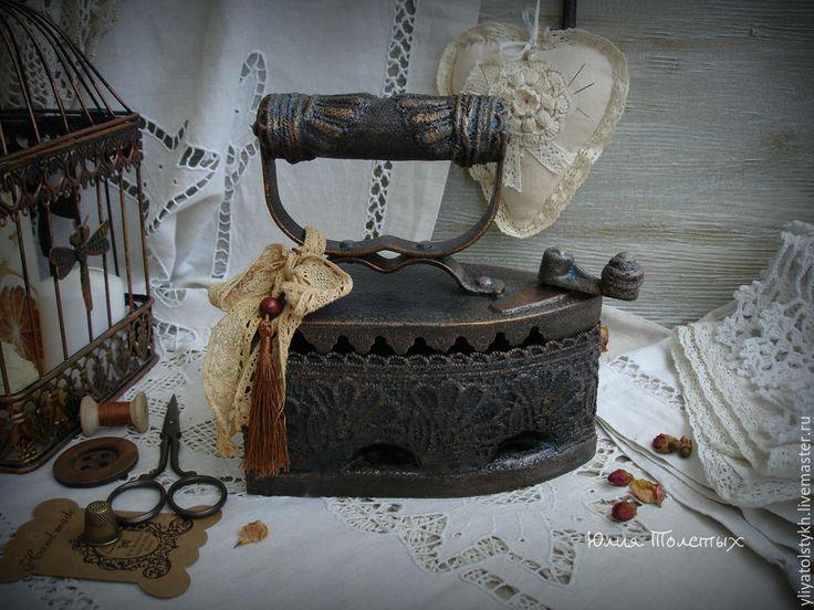 """Купить Утюг угольный """"Французские кружева"""" - черный, утюг, винтажный стиль, старый, для фотосессий, утюжок"""