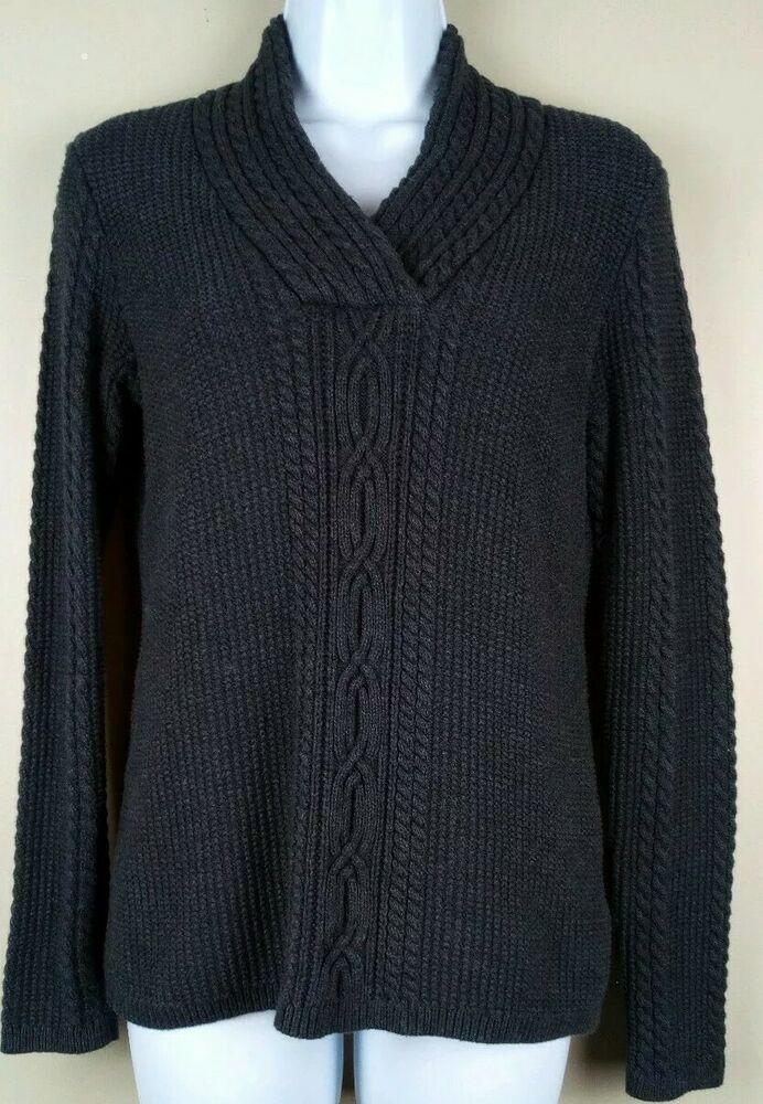 Women's Nautica Dark Gray Pullover V Neck Cable Sweater Size