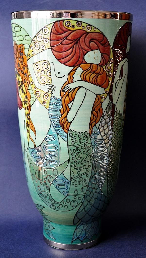 Dennis Chinaworks Klimt Mermaid Lustred L Deco 35cms in height Limited edition of 10 http://www.bwthornton.co.uk/dennis-chinaworks.php