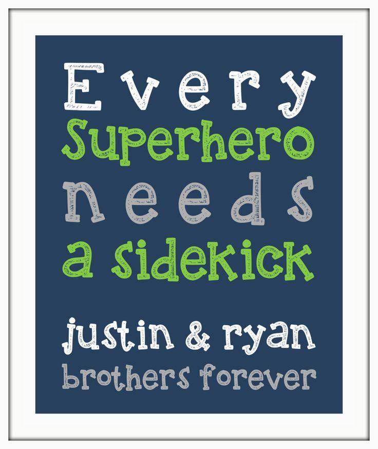 Every SUPERHERO needs a sidekick BROTHER Boy wall art print.  Twin nursery decor Boy nursery, little boy print. playroom art by ThePrintsCess on Etsy