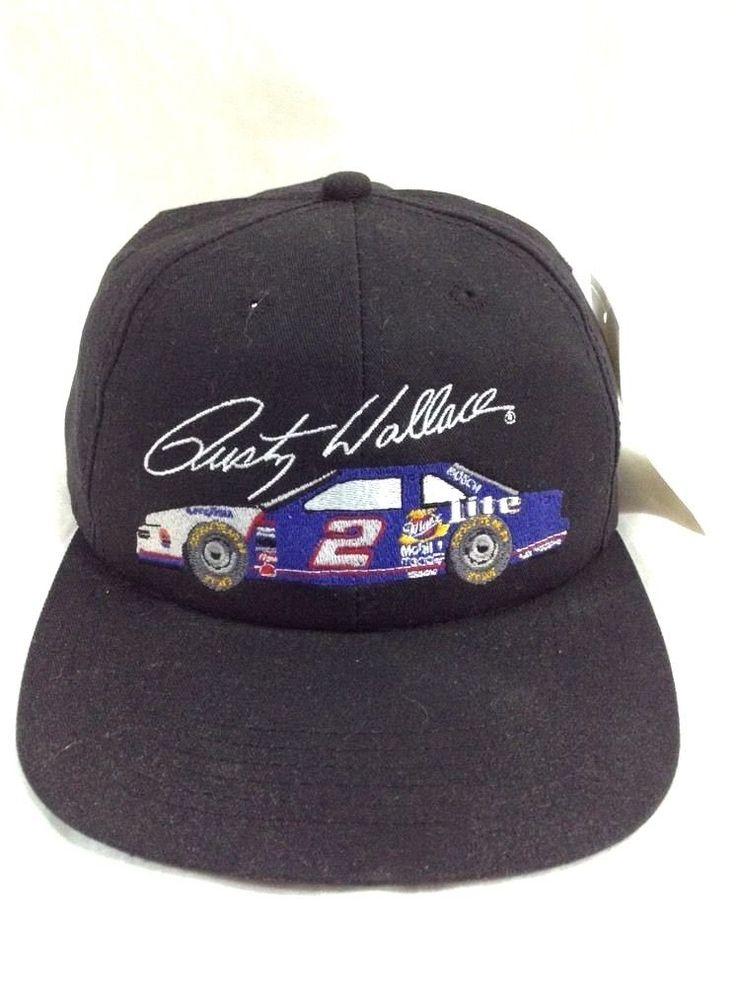 Vtg Rusty Wallace NASCAR Hat Miller Lite Racing Snapback Cap #Kontour #BaseballCap