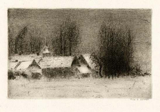 Bohuslav Reynek Petrkov suchá jehla / dry point 13,7 x 21,7 cm, 1962, otisk z původní desky, opus G 505