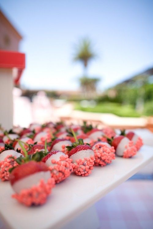 Strawberries dipped in white chocolate and pink nerds: Ideas, Chocolates, Pink Nerds, Food, White Chocolate, Chocolate Dipped, Party, Dessert