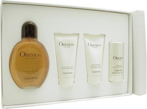 Obsession by Calvin Klein for Men (Eau De Toilette Spray 4 Ounce, After Shave Balm 2.5 Ounce, Body Wash 2.5 Ounce, Deodorant 2.6 Ounce) by Calvin Klein. $69.99. Packaging for this product may vary from that shown in the image above. This item is not for sale in Catalina Island. Launched by the design house of Calvin Klein in 1986, OBSESSION is a men's fragrance that possesses a blend of mandarin and spice, with low tones of musk, sandalwood and amber.  It is recommen...