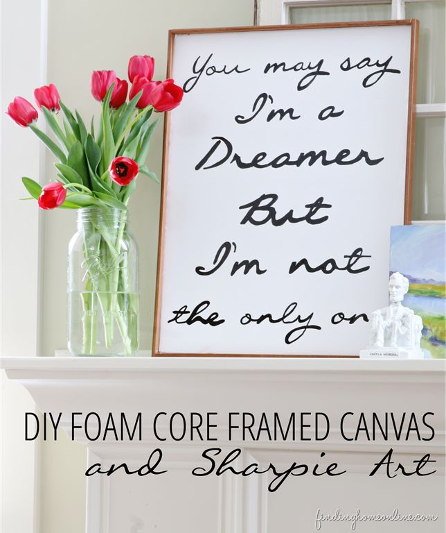 Make your own DIY art with foam core board and a sharpie!  Looks so expensive, too!  www.findinghomeonline.com #homedecor  #diyprojects #art