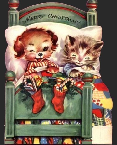Vintage Christmas card with puppy and kitten.
