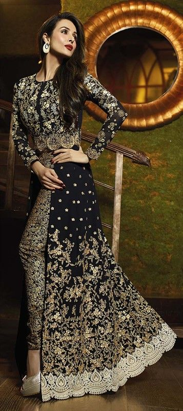 Eid Special High-slit Salwar Kameez by IWS 458322 Black and Grey color family Bollywood Salwar Kameez in Faux Georgette fabric with Lace,Machine Embroidery,Stone,Thread work . Designer Salwar Suit #MalaikaAroraKhan