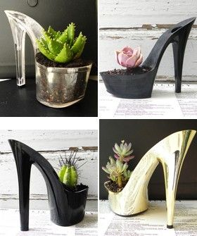 Meet The Woman Behind Giddy Spinster's Stripper Heel Planters | Berkeley-based Etsy crafter Rachel Mahlke (aka Giddy Spinster) talks about the inspiration behind her fabulous stripper heels planters. #refinery29 http://www.refinery29.com/stripper-heels-cacti-and-succulents-obsessed