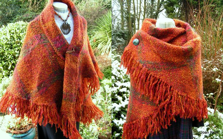 Tri loom shawl in unique rust coloured boucle wool yarn with other fibres. Woven by Joan Kent. One-off shawl.