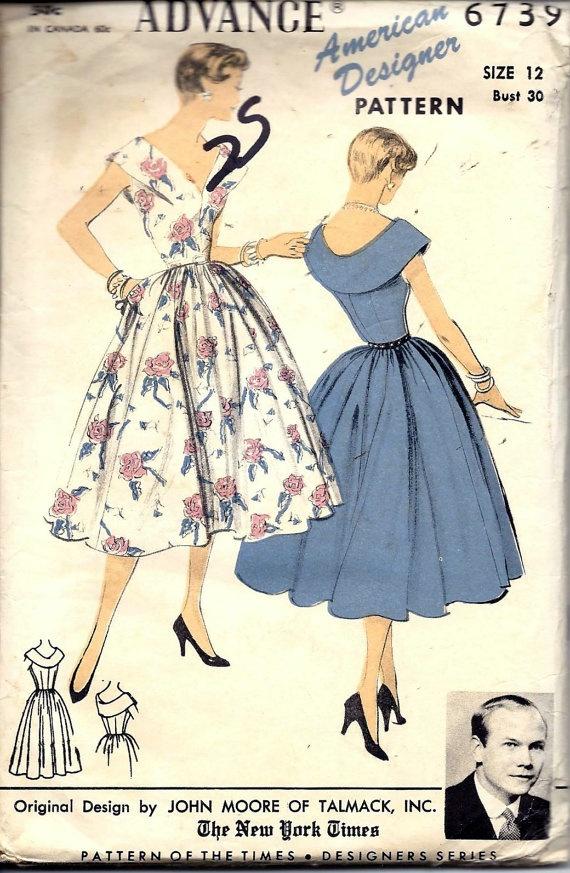 Vintage 50s Advance Dress Pattern 6739 B30 By Vintagepatternstore 3493