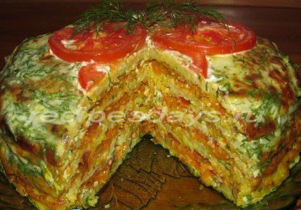 торт из кабачка сыра и помидора