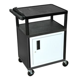 Luxor Mobile Black Presentation 3-shelf Electric AV Cart With Lockable Storage Cabinet   Overstock™ Shopping - The Best Prices on Luxor Stands & Carts