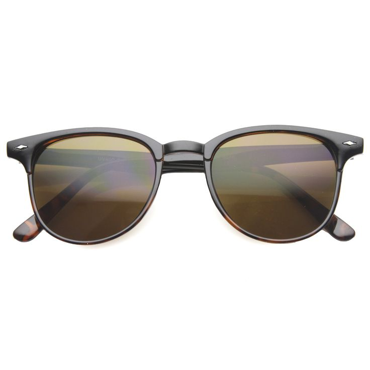 Mens Horn Rimmed Sunglasses With UV400 Protected Composite Lens