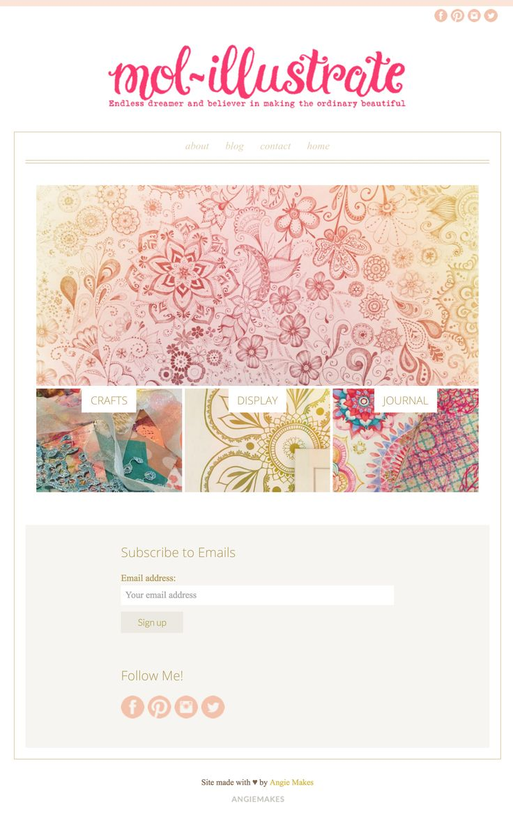 Love her pretty illustrations and her simple, sweet website running on an Angie Makes Wordpress theme.