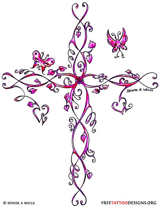 Girly cross tattoo, pink with butterflies