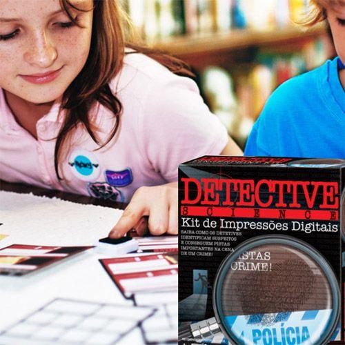Kit Educacional Detetive, Impressões Digitais, Brinquedo Educativo Perícia Criminal