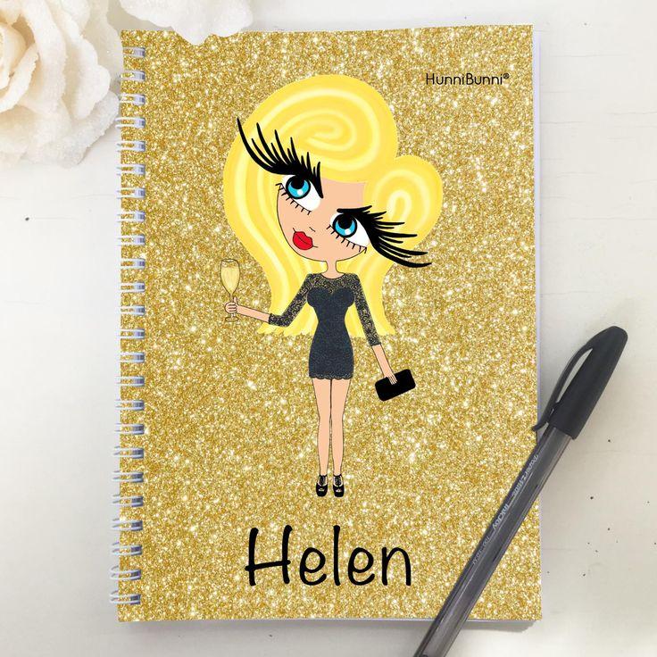HunniBunni Gems Gold Glitter Personalised A5 2016 Diary