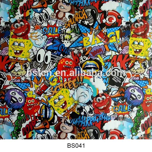 Manufacturer for hydrographic prints film in hydroprinting services cartoon stickerbomb aqua print design new arrive