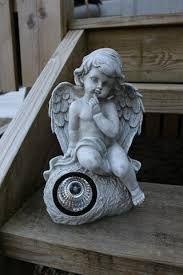 Gravpynt engel med solcelle