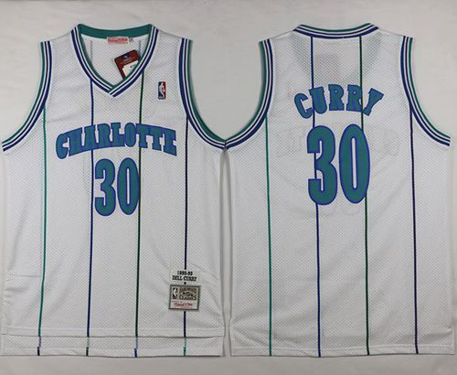 promo code 1df50 1221e Mitchell And Ness Hornets #30 Dell Curry White Throwback ...
