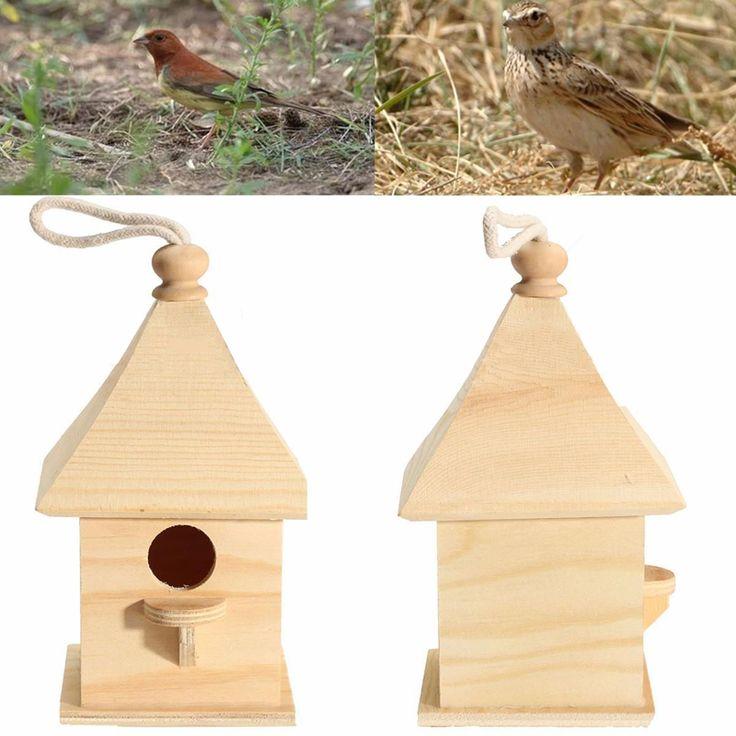 Colgante de madera Casas De Aves Estación de Alimentación de Aves de Aves Cajas-nido para Home Garden Decoración Jaula de Pájaros