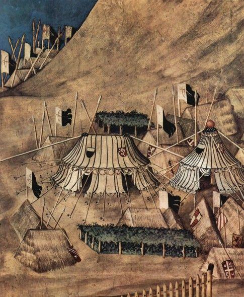 Сиена. палаццо пубблико. Мартини, Симоне Победоносный полководец Гвидо Риччо да Фольяно. Фреска из Палаццо Пубблико в Сиене. Фрагмент. Военный лагерь, 1328, Фреска