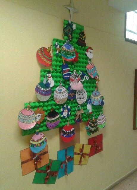 Árbol de Navidad hecho con cartones de huevos.
