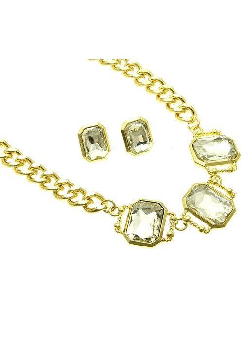 Crystal Link Necklace Set (Clear)