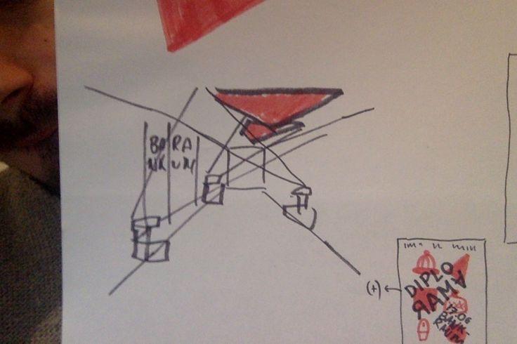 per il corridoio officine possiamo mettere 3 tavoli luminosi/prooiettori/episcopi e proiettare forme geometriche rosse o testo molto grande